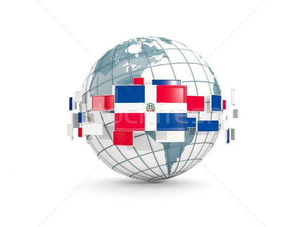 Globe with flag of dominican republic isolated on white Stock photo © MikhailMishchenko