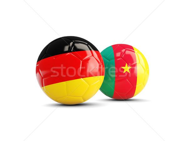Dwa flagi odizolowany biały 3d ilustracji piłka nożna Zdjęcia stock © MikhailMishchenko