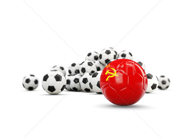 Football with flag of ussr isolated on white Stock photo © MikhailMishchenko