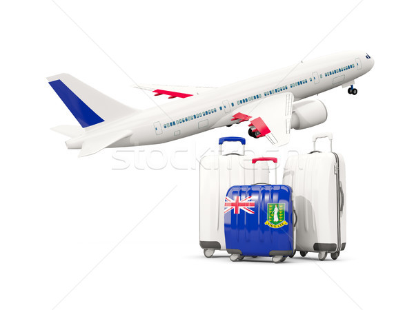 Luggage with flag of virgin islands british. Three bags with air Stock photo © MikhailMishchenko