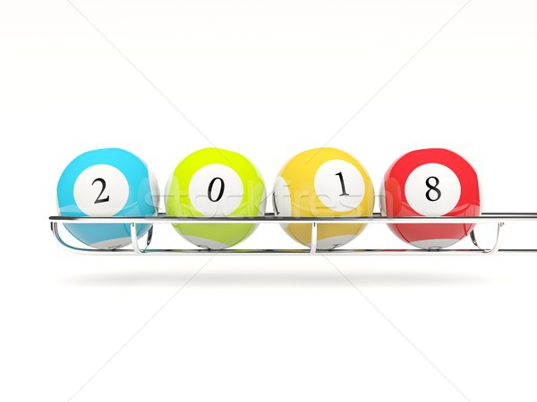 2018 New year lottery balls isolated on white Stock photo © MikhailMishchenko