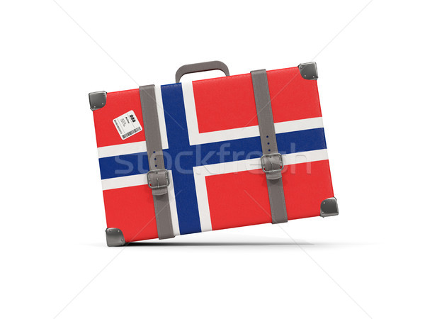 Luggage with flag of norway. Suitcase isolated on white Stock photo © MikhailMishchenko