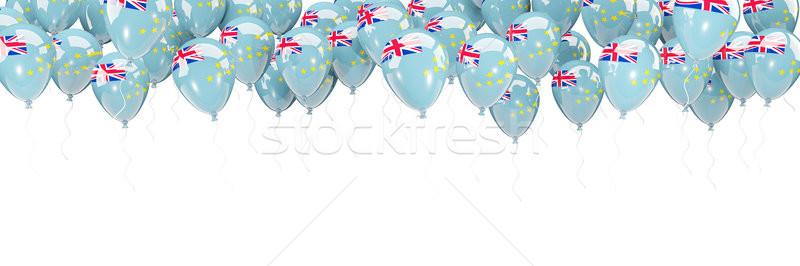 Balões quadro bandeira Tuvalu isolado branco Foto stock © MikhailMishchenko