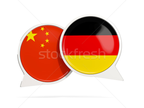 Chat bubbles of China and Germany isolated on white Stock photo © MikhailMishchenko
