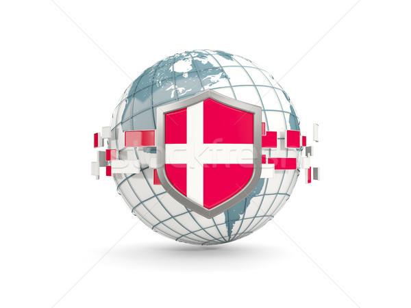 Wereldbol schild vlag Denemarken geïsoleerd witte Stockfoto © MikhailMishchenko