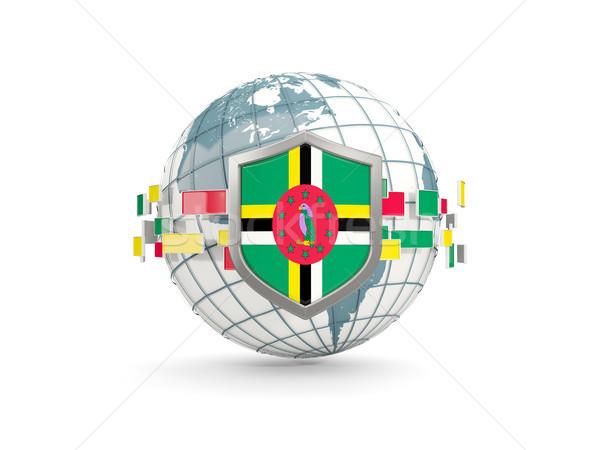 мира щит флаг Доминика изолированный белый Сток-фото © MikhailMishchenko