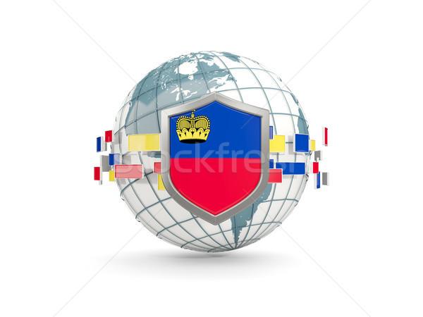 Globe and shield with flag of liechtenstein isolated on white Stock photo © MikhailMishchenko