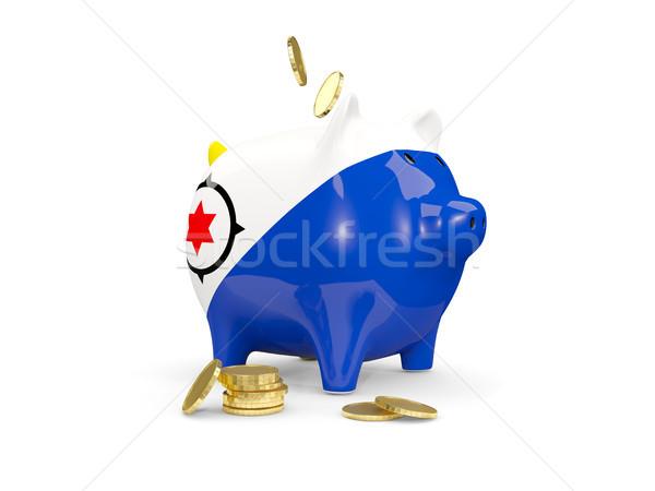 Fat piggy bank with fag of bonaire Stock photo © MikhailMishchenko