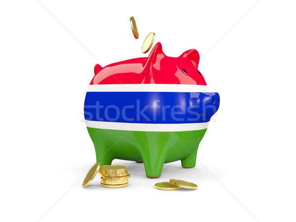 Tłuszczu banku piggy Gambia ceny odizolowany biały Zdjęcia stock © MikhailMishchenko