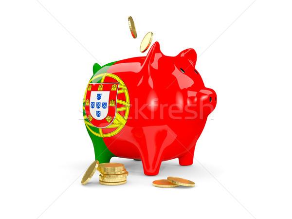 Yağ kumbara Portekiz para yalıtılmış beyaz Stok fotoğraf © MikhailMishchenko