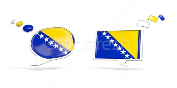 Dos chat iconos bandera Bosnia Herzegovina cuadrados Foto stock © MikhailMishchenko