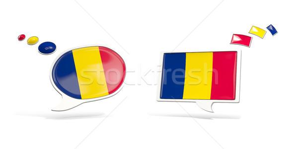 Dos chat iconos bandera Chad cuadrados Foto stock © MikhailMishchenko