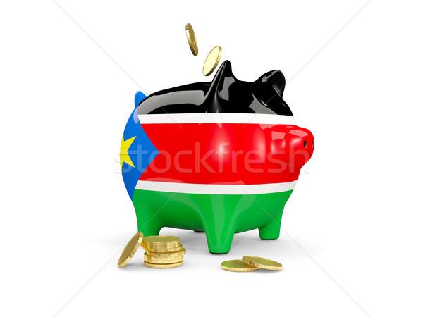 Kövér persely dél Szudán pénz izolált Stock fotó © MikhailMishchenko