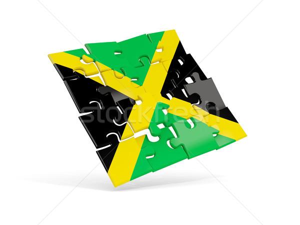 Bilmece bayrak Jamaika yalıtılmış beyaz 3d illustration Stok fotoğraf © MikhailMishchenko