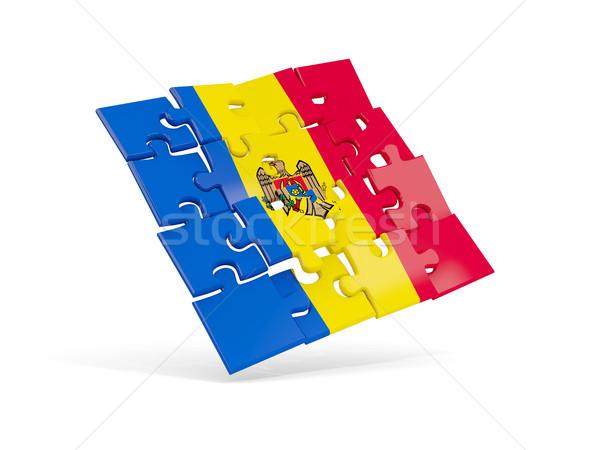 Puzzle zászló Moldova izolált fehér 3d illusztráció Stock fotó © MikhailMishchenko