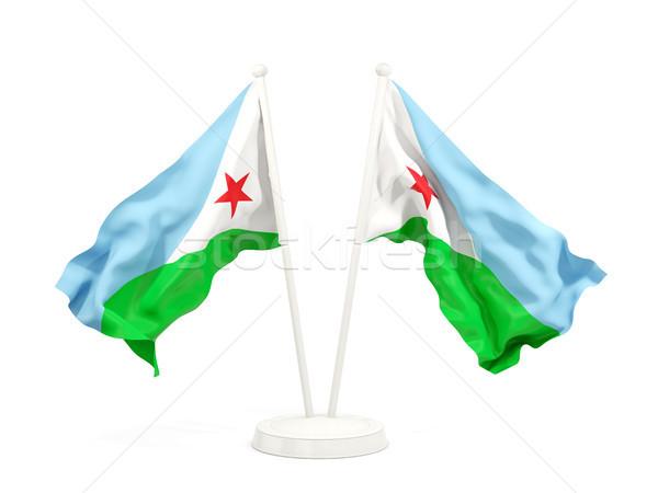 Dwa flagi Dżibuti odizolowany biały Zdjęcia stock © MikhailMishchenko
