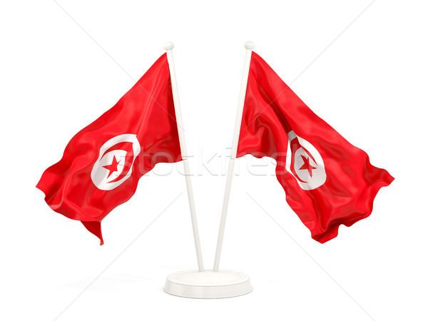 Iki bayraklar Tunus yalıtılmış beyaz Stok fotoğraf © MikhailMishchenko