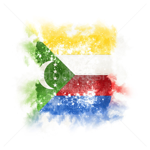 Square grunge flag of comoros Stock photo © MikhailMishchenko