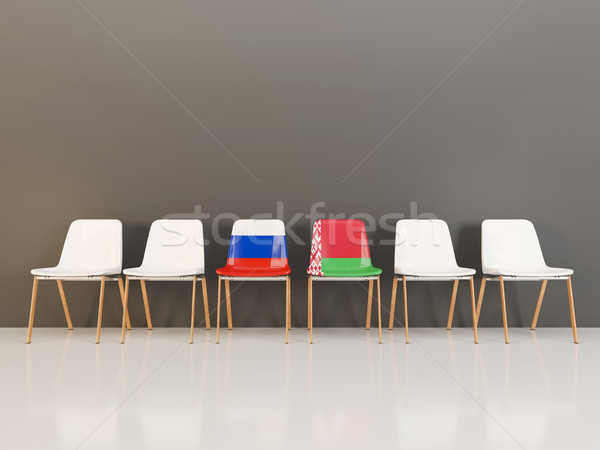Chairs with flag of Russia and belarus Stock photo © MikhailMishchenko