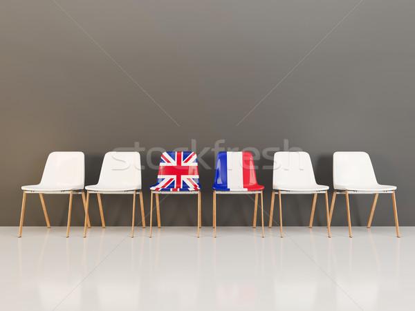 Székek zászló Egyesült Királyság Franciaország csetepaté 3d illusztráció Stock fotó © MikhailMishchenko