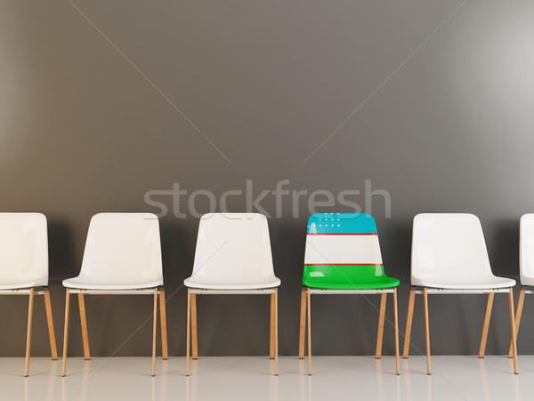 Szék zászló Üzbegisztán csetepaté fehér székek Stock fotó © MikhailMishchenko