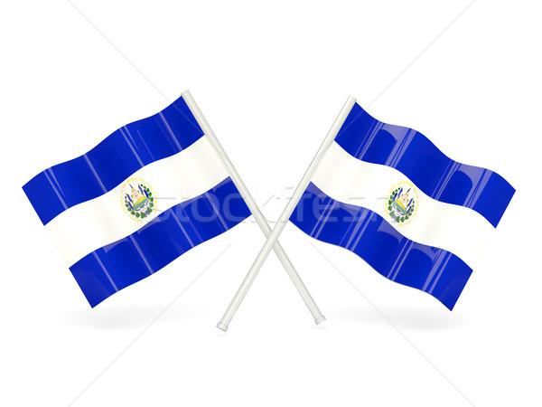 Bandeira El Salvador dois ondulado bandeiras isolado Foto stock © MikhailMishchenko