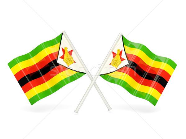 Foto stock: Bandeira · Zimbábue · dois · ondulado · bandeiras · isolado