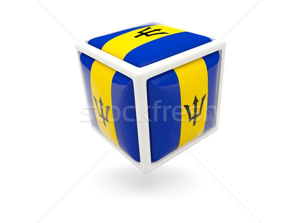 Stock fotó: Zászló · Barbados · kocka · ikon · izolált · fehér