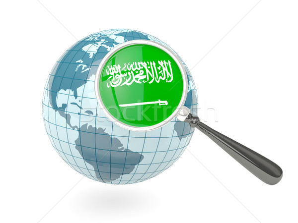 Vlag Saoedi-Arabië Blauw wereldbol geïsoleerd Stockfoto © MikhailMishchenko