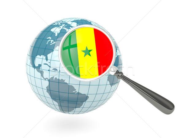 Nagyított zászló Szenegál kék földgömb izolált Stock fotó © MikhailMishchenko