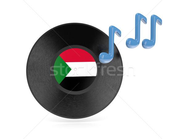 Vinyl schijf vlag Soedan geïsoleerd witte Stockfoto © MikhailMishchenko