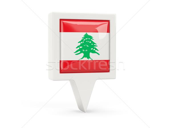 Tér zászló ikon Libanon izolált fehér Stock fotó © MikhailMishchenko