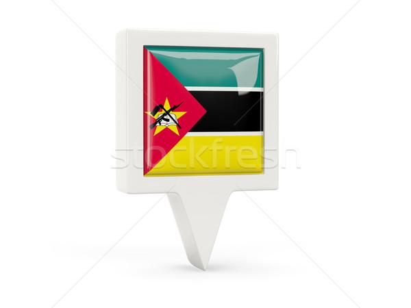 Praça bandeira ícone Moçambique isolado branco Foto stock © MikhailMishchenko