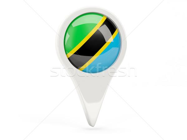 Bandeira ícone Tanzânia isolado branco mapa Foto stock © MikhailMishchenko