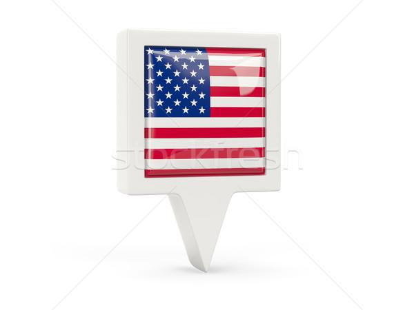 Kare bayrak ikon Amerika Birleşik Devletleri Amerika yalıtılmış Stok fotoğraf © MikhailMishchenko