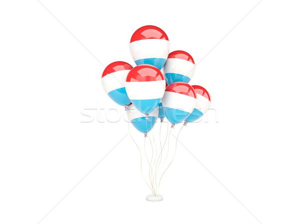 Pływające balony banderą Luksemburg odizolowany biały Zdjęcia stock © MikhailMishchenko