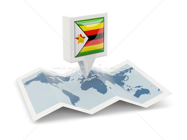 広場 ピン フラグ ジンバブエ 地図 旅行 ストックフォト © MikhailMishchenko