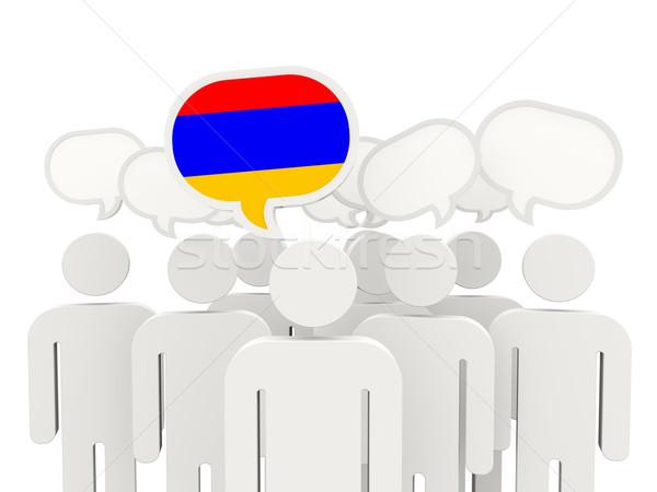 люди флаг Армения изолированный белый заседание Сток-фото © MikhailMishchenko
