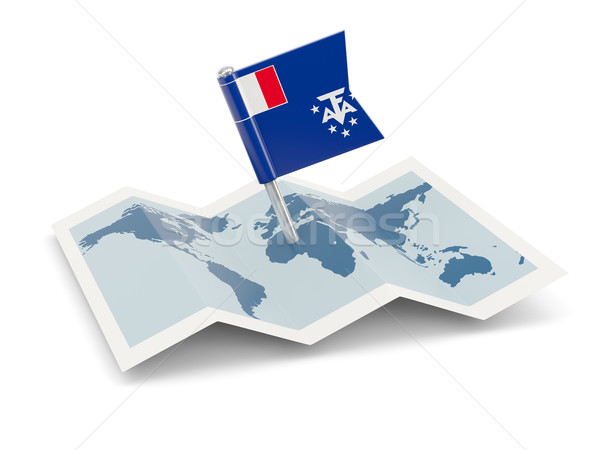 Map with flag of french southern territories Stock photo © MikhailMishchenko