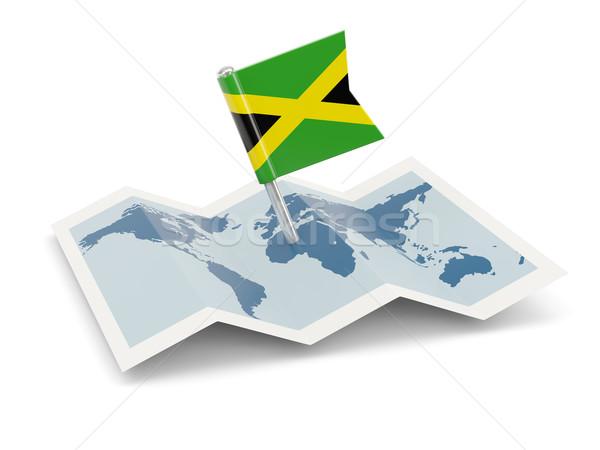 Térkép zászló Jamaica izolált fehér Stock fotó © MikhailMishchenko