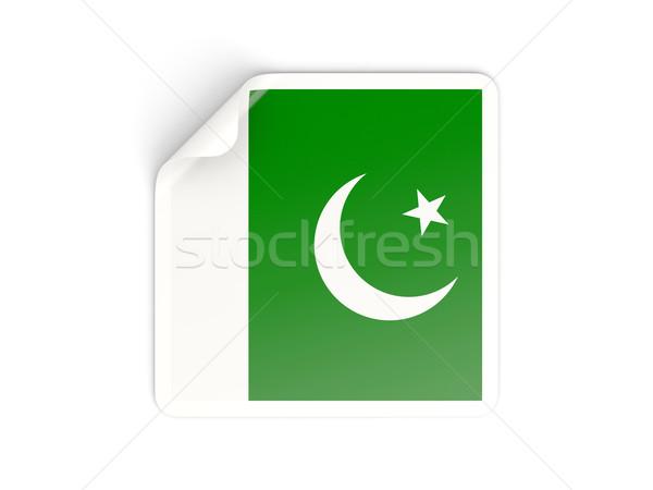 Kare etiket bayrak Pakistan yalıtılmış beyaz Stok fotoğraf © MikhailMishchenko