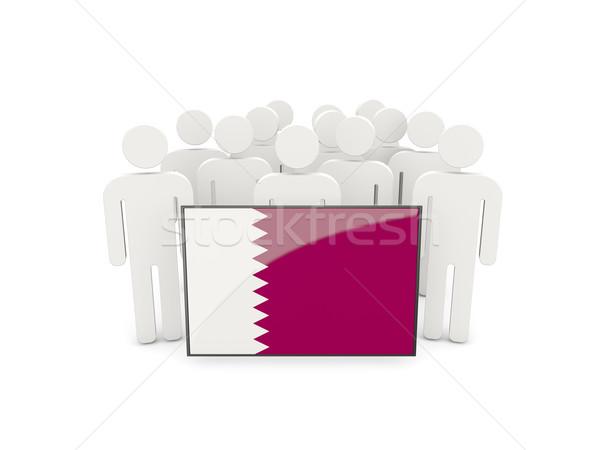люди флаг Катар изолированный белый толпа Сток-фото © MikhailMishchenko