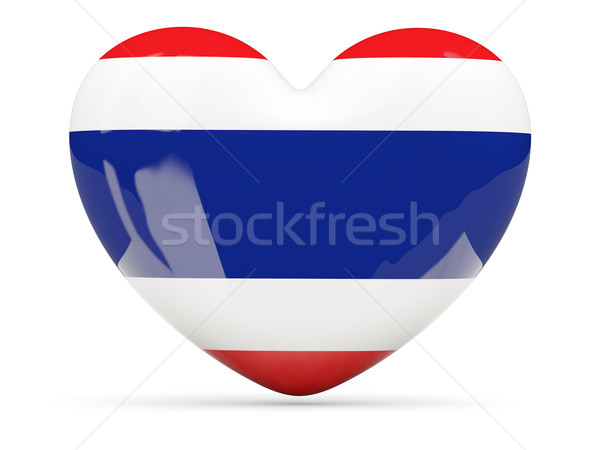 Heart shaped icon with flag of thailand Stock photo © MikhailMishchenko