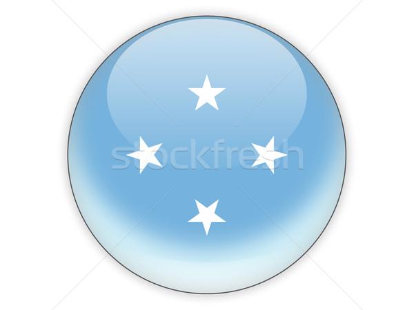 ícone bandeira Micronésia isolado branco viajar Foto stock © MikhailMishchenko