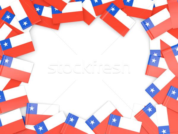 Keret zászló Chile izolált fehér Stock fotó © MikhailMishchenko