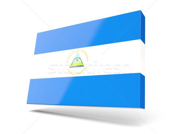 Praça ícone bandeira Nicarágua isolado branco Foto stock © MikhailMishchenko