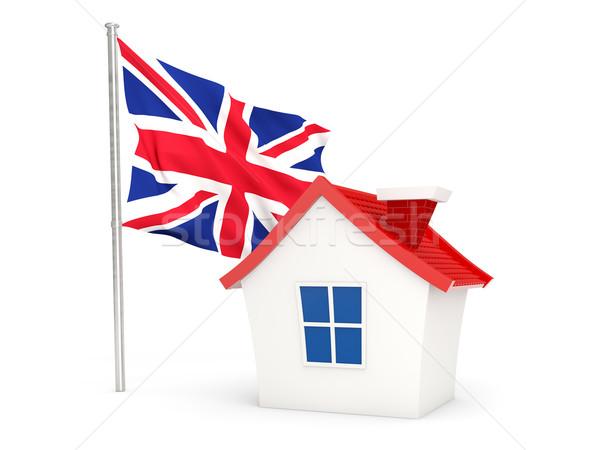 Ház zászló Egyesült Királyság izolált fehér otthon Stock fotó © MikhailMishchenko