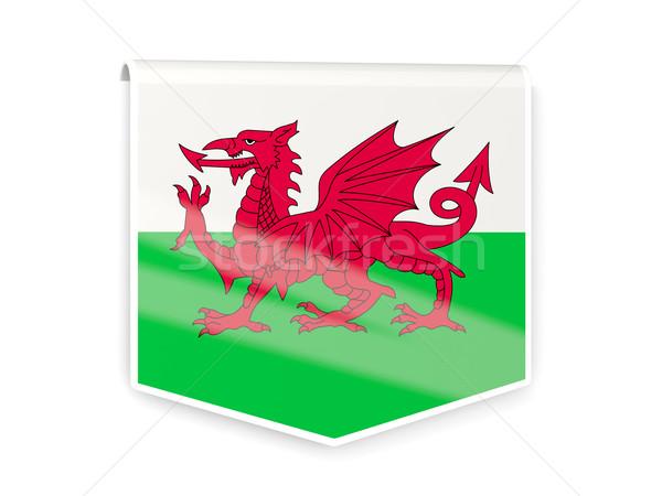 Bandera etiqueta gales aislado blanco signo Foto stock © MikhailMishchenko