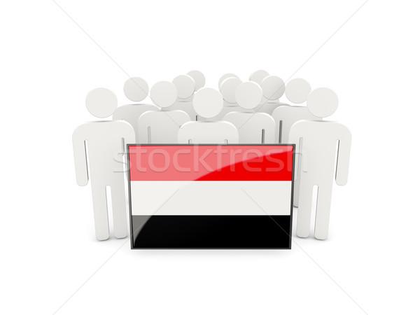 Mensen vlag Jemen geïsoleerd witte menigte Stockfoto © MikhailMishchenko