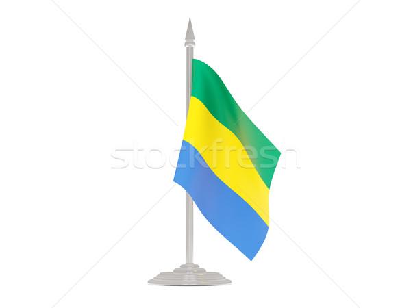 Vlag Gabon vlaggestok 3d render geïsoleerd witte Stockfoto © MikhailMishchenko